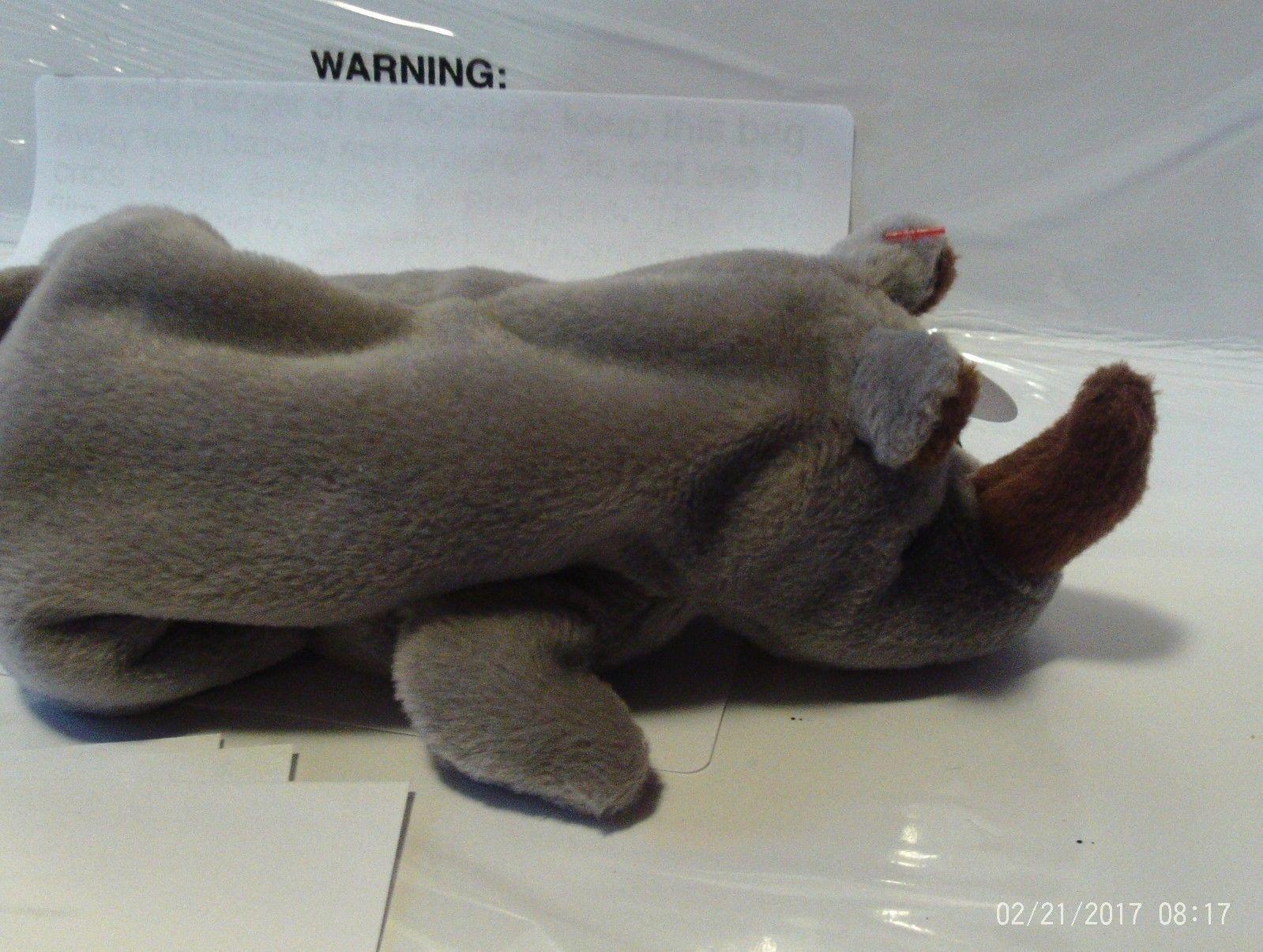 1ST Edition Beanie Babies Rare Spike the Rhino, No star, No stamp, PVC image 4