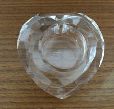 Oleg Cassini Crystal Glass Heart Shaped Votive Candle Holder Clear Signed AS-IS - $26.28