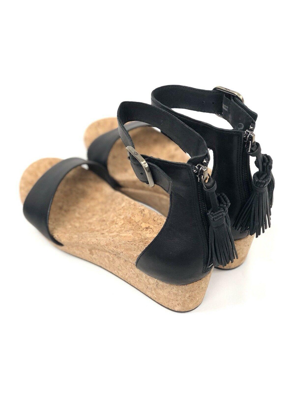 UGG Australia Women's Zoe Black Tassel Open Toe Wedge Sandal 1019973 Casual Shoe
