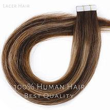 Lacerhair Tape in Balayage Natural Hair Extensions Straight Chocolate Brown to S image 2