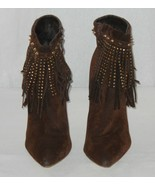 Womens ALBA Ricky 9 Brown High Heeled Ankle Boots w Fringe Studs Spikes Sz 9 - $13.00