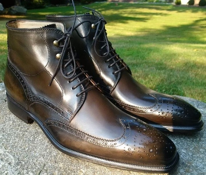 Handmade Men's Brown Leather Wing Tip Heart Medallion Lace Up High Ankle Boots