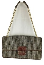 RARE Vintage Brown Snake & Chevron Liz Claiborne Purse Gold Chain Satin Lining - $59.95