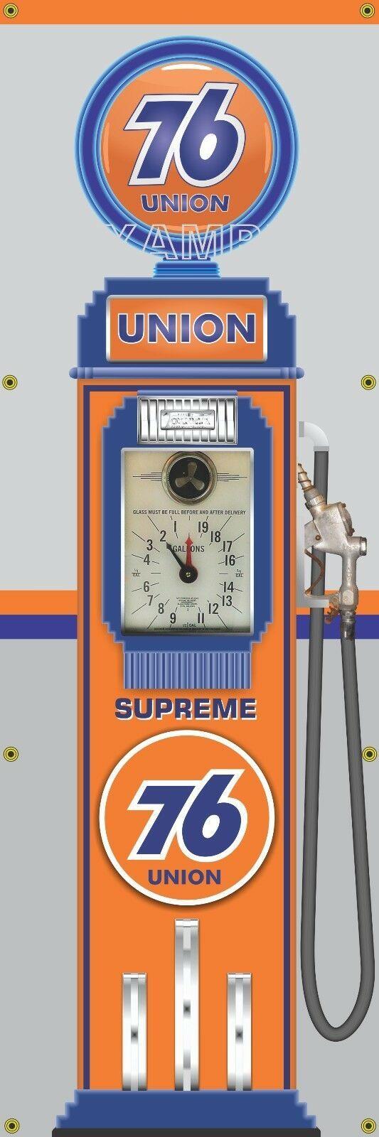 SUNOCO BLUE OLD TOKHEIM VINTAGE CLOCKFACE GAS PUMP BANNER SIGN MURAL ART 2' X 6'