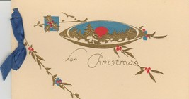 Vintage Christmas Card Gold Pine Trees Red Berries Blue Ribbon 1920's Gibson - $8.90