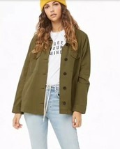 Forever 21 Twill Utility Jacket Button Down Olive Army Green Size M NEW - $24.57