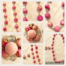 Vintage 1950's Pink Cluster Faux Pearl Necklace and Matching Earring Set - $16.82