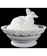 "Westmoreland Milk Glass Fox On Dancing Sailor Lacy Base 8""l Covered Dish - $159.99"