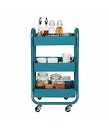 DESIGNA Metal Rolling Storage Cart 3 Tiers Utility Mobile Organization C... - $65.86