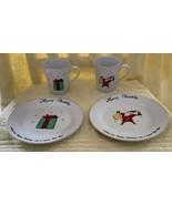 Merry Brite Merry Christmas 2 Cups / Mugs Present Santa Matching Dessert... - $24.74