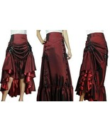 THREE WAY LACE UP RENAISSANCE SKIRT BURGUNDY RED GOTHIC VICTORIAN STEAMP... - £49.39 GBP+