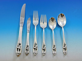 Silver Iris by International Sterling Silver Flatware Set for 6 Service ... - $1,720.00