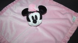 Minnie mouse vintage look pink plush baby security blanket wearing hat - $9.89