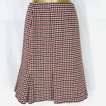 Talbots Skirt Red Black Houndtooth Wool Blend Tweed  Fit & Flare Womens ... - $28.50