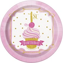 "1st Birthday Pink Gold Girls 8 Ct Dessert Cake 7"" Plates - $3.13"