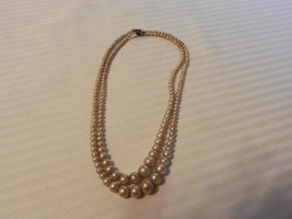 """Vintage 2 Stranded Round White Ball Faux Pearl Choker Necklace 16.5"""" Long - $22.27"""