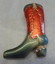 Vintage Brown Green Enamel & Goldtone Cowboy Cowgirl Boot Brooch  - $16.83
