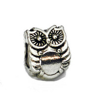 SALE Detailed owl bird Charm European bead jewelry Authentic sterling silver .92 - $8.89