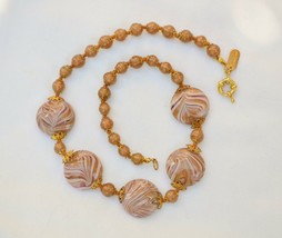 HILARY LONDON Murano averturine gold floss glass & mauve art bead necklace - $42.56