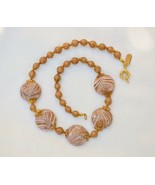 HILARY LONDON Murano averturine gold floss glass & mauve art bead necklace - $42.56
