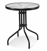 Round Coffee Table Indoor Outdoor Patio Garden Poolside Furniture w Glas... - $43.69