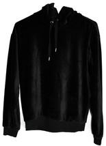 Forever 21 Black Ribbed Velvet Hooded Long Sleeve Pullover Hoodie Size S