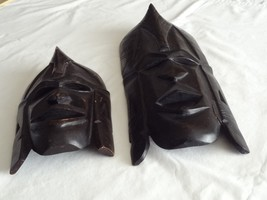 """Lot of 2 African Hand Carved Wood Mask Tribal 10.75"""" 17"""" Face Kenya Blac... - $49.99"""