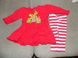 Mud Pie  Red/Green Present Ruffles LS Shirt W/Striped Bottoms Size 0/6 Months - $15.60