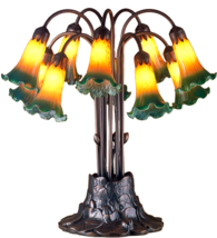 "22'""H  Amber/Green Pond Lily 10 LT Table Lamp 14357 - £289.63 GBP"