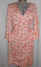 Dvf Diane Von Furstenberg Renny Orange Off White Web Silk Wrap Dress Sz 14 - $64.50