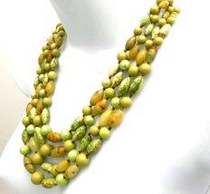 Vintage Beads & Necklace Set 1950s Hong Kong Greens - $35.00