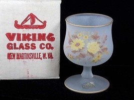 Viking Glass Satin Frost Crystal Yellow Floral Goblet Candle Holder, Yel... - $47.00