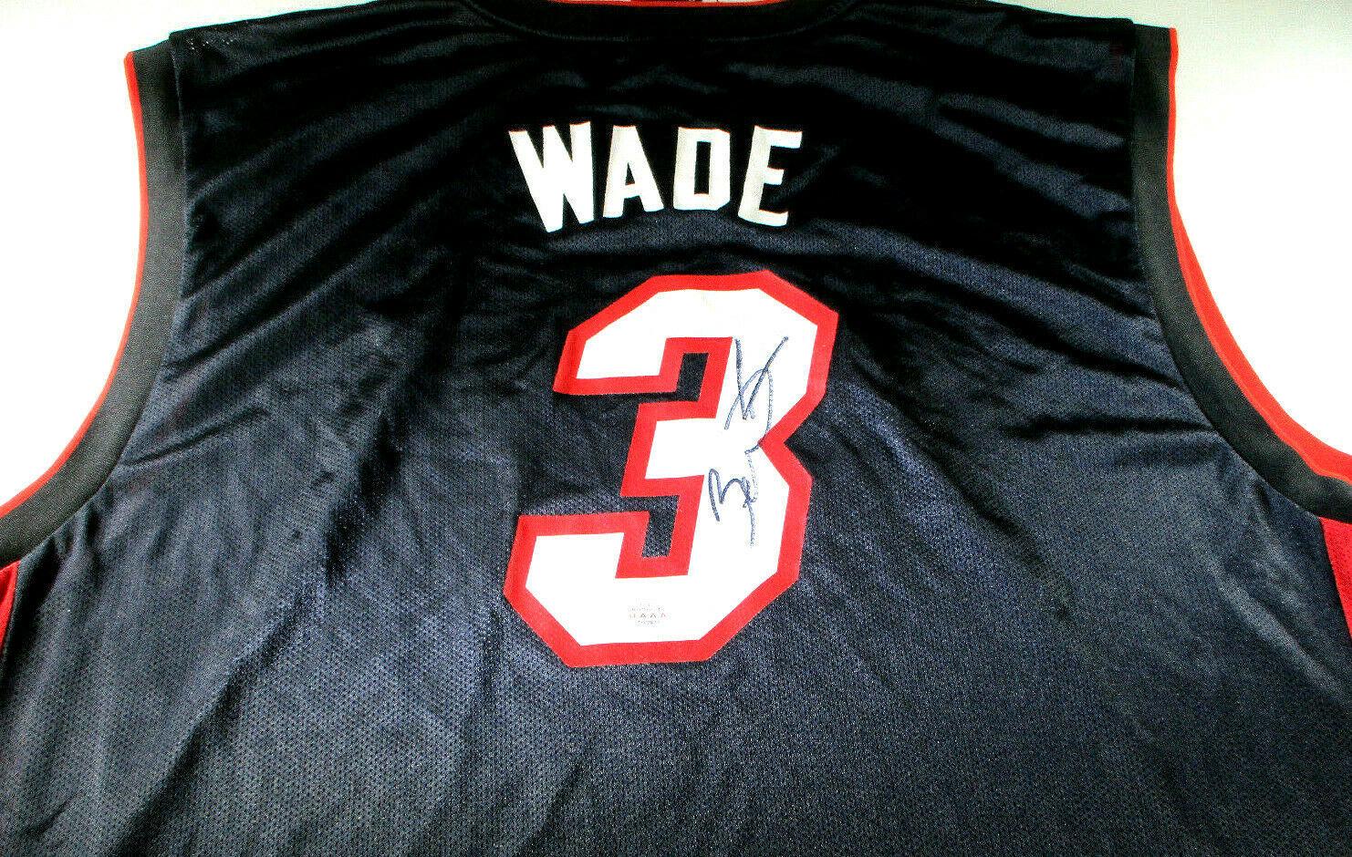 DWAYNE WADE / AUTOGRAPHED MIAMI HEAT BLACK PRO STYLE BASKETBALL JERSEY / COA
