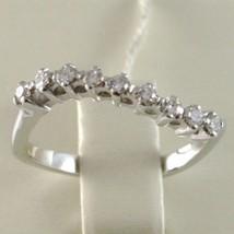 Bague en or Blanc 750 18K, Veretta 9 Diamants Carat en Tout 0.23, Vague Ondulé image 2