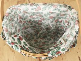 Vtg 1998 Longaberger Xmas Collection Glad Tidings Holly Berry Liner Basket w/Lid image 4