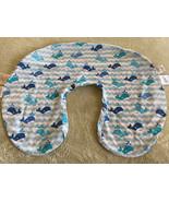 Boppy Boys White Blue Whales Waves Nursing Breastfeeding Pillow Cover - $12.13