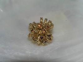 Vintage Bumpy Goldtone with High Set Ribbon & Tiny Bronze Rhinestones Ri... - $12.19