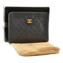 CHANEL Lamb Skin Matelasse Clutch Bag Black CC sa2074 **Metal Broken - $698.00