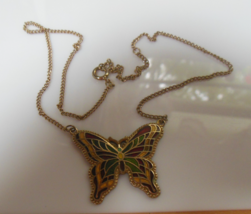 Vintage Sarah Coventry Enamel Butterfly Pendant Necklace  - $16.82