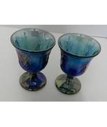 Indiana Carnival Glass Blue Iridescent Harvest Grape Goblet Wine Glass L... - $21.66