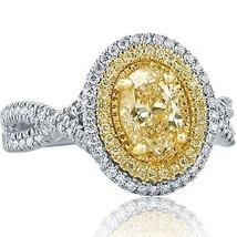 1.54 TCW Light Yellow Oval Cut Diamond Engagement Ring Infinity 18k White Gold - $3,563.01