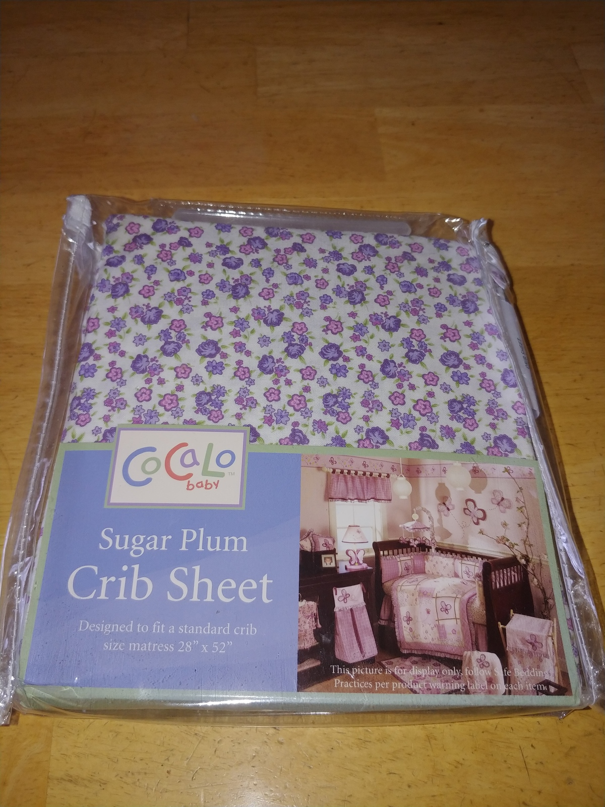 """CoCaLo BABY SUGAR PLUM FITTED STANDARD CRIB SHEET-FITS 28""""X52""""-PURPLE/PINK FLORA - $15.99"""