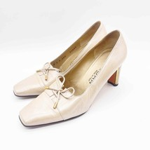St. John Womens 6 B Vintage Beige Tan Leather Square Toe Bow Front Heels - $27.75