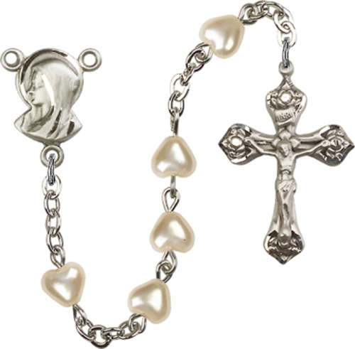 Rosary - 6mm Heart Faux Pearl Rosary - Silver Plated