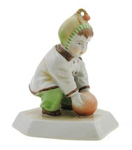 Vintage Hungarian Porcelain Figurine Zsolnay Boy Playing with Ball - $38.97