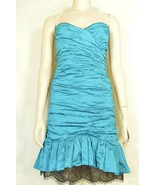 BCBGMaxazria dress 12 prom party Cocktail club ruched teal blue flattering - $29.69