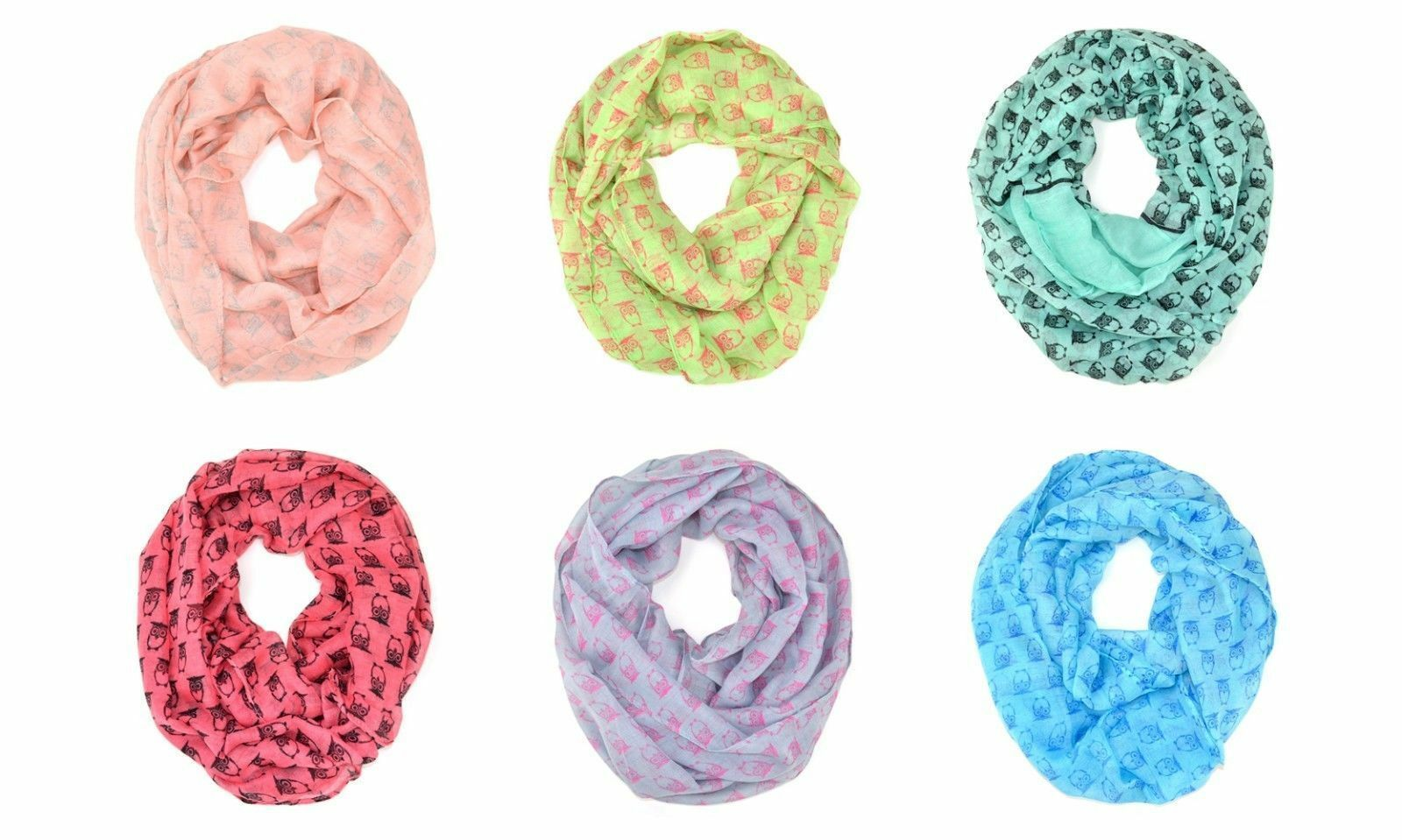 Primary image for Cute Owl Animal Print Block Circle Loop Wrap Infinity Scarf Multi Color Soft