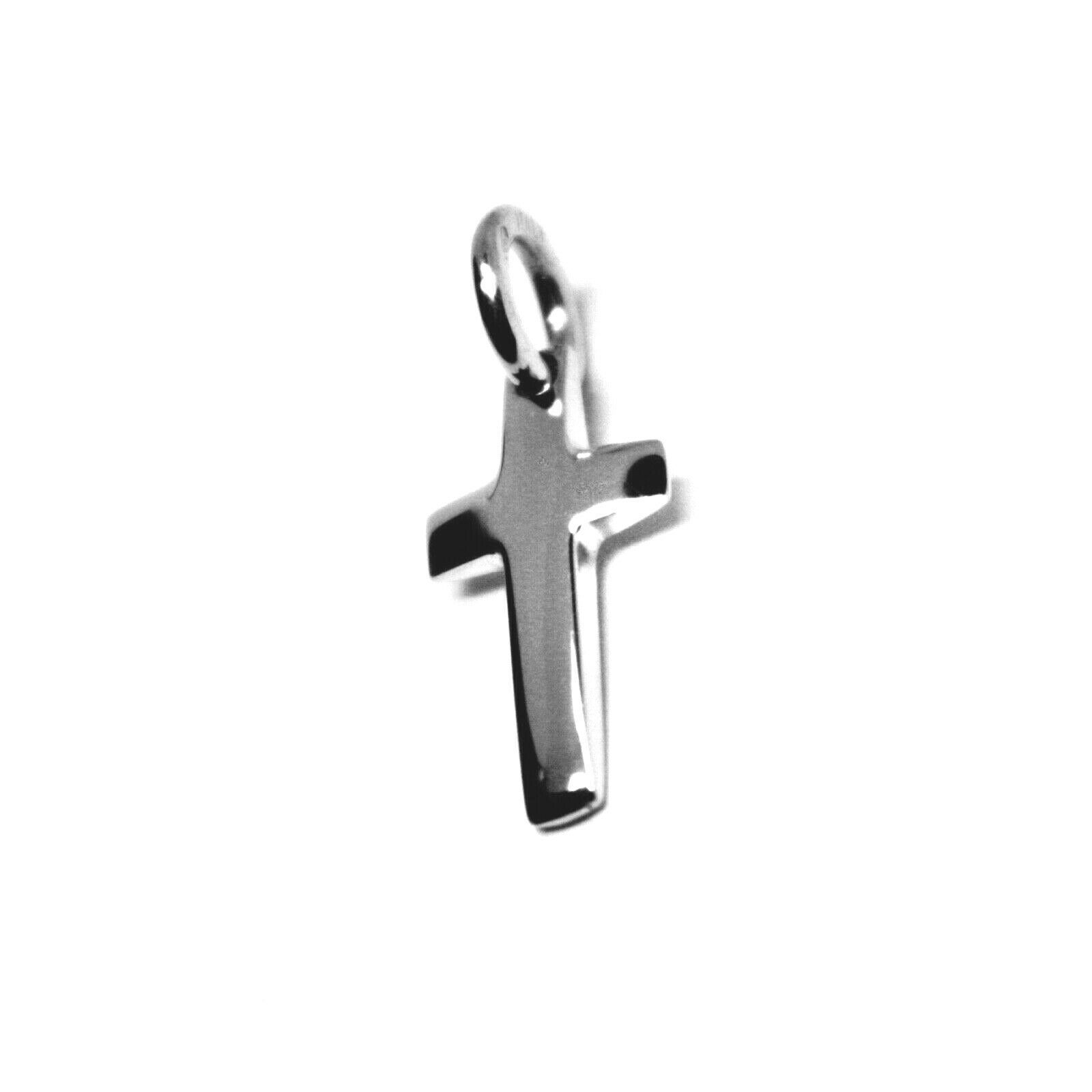 SOLID 18K WHITE GOLD SMALL CROSS 16mm, ROUNDED SMOOTH 2.5mm THICK MADE IN ITALY
