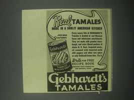 1939 Gebhardt's Tamales Ad - Real Tamales made in a sunlit American Kitchen - $14.99