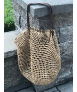 NEW W/ TAGS TAN WICKER ROPE TOTE BAG, GREAT FOR BEACH TANNING SUMMER VAN... - $29.70